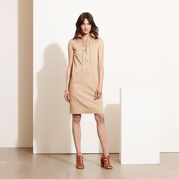 RALPH LAUREN lauren lace-up shift dress - The season's neutral palette meets a chic shift silhouette...