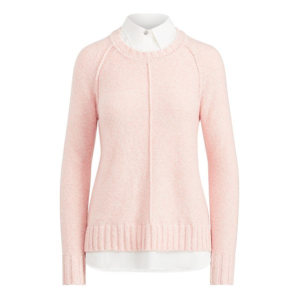 RALPH LAUREN lauren layered cotton-blend sweater - A contrasting collar and hem give this cotton-blend sweater...