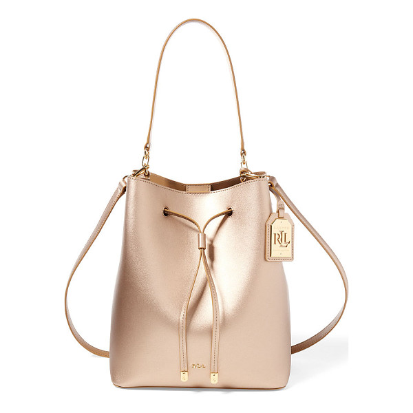 RALPH LAUREN lauren leather debby drawstring bag - A contrasting interior and removable strap with a pop of