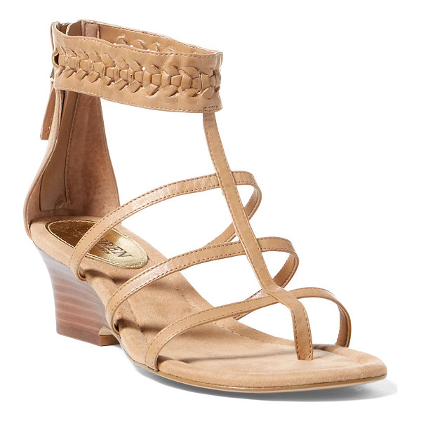 RALPH LAUREN lauren meira vachetta wedge sandal - A city-chic caged silhouette meets a boho braided ankle