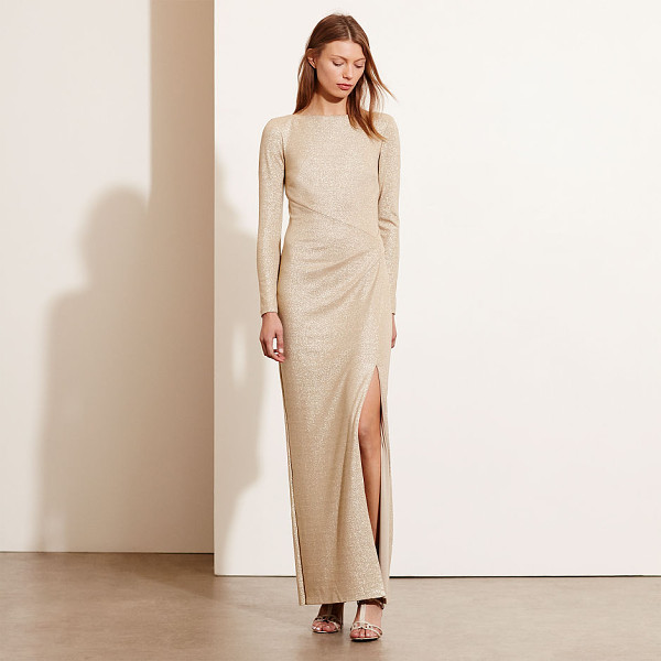 RALPH LAUREN lauren metallic scoop-back gown - In metallic stretch jersey, this body-conscious gown...