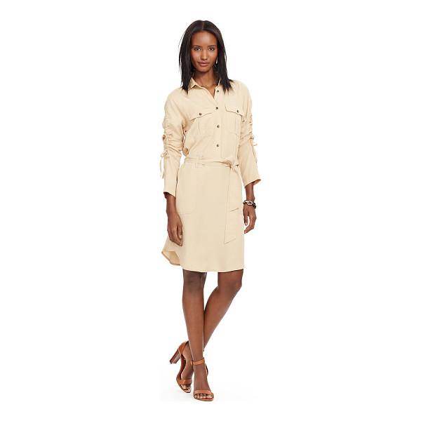 RALPH LAUREN lauren ruched-sleeve shirtdress - Ruched sleeves add feminine flair to this belted...