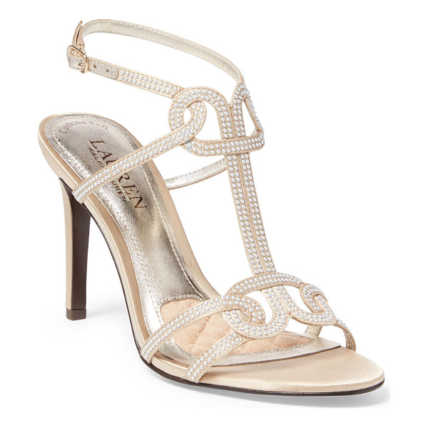RALPH LAUREN lauren samiha studded sandal - Pearlized studs accentuate this cotton-and-silk sandal's...