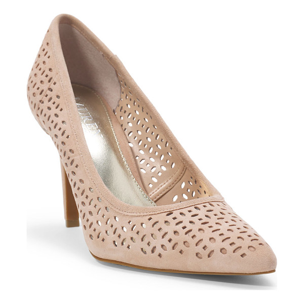 RALPH LAUREN lauren sarina iii suede pump - Geometric cutouts give this suede pump an undeniably...