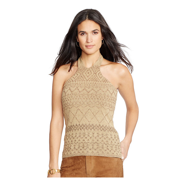 RALPH LAUREN lauren silk-linen halter sweater - Knit with a tonal geometric pattern, this silk-and-linen...