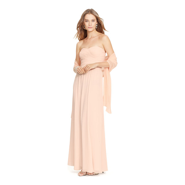 RALPH LAUREN lauren strapless georgette gown - Textural, overlapping draped panels at the bodice meet a...
