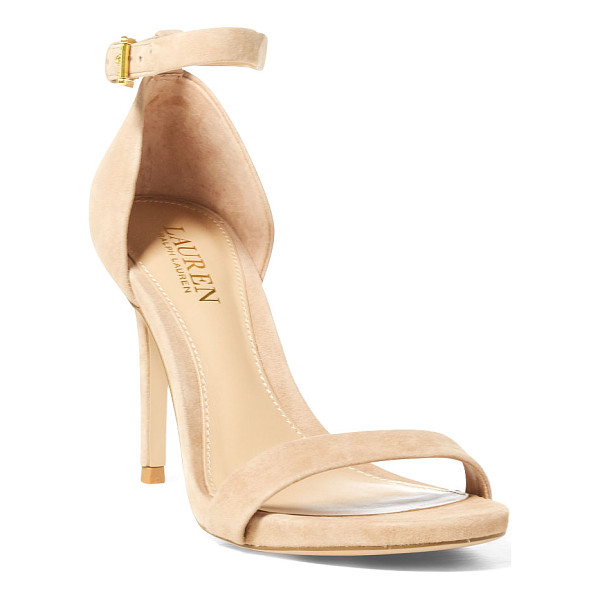 RALPH LAUREN lauren tarah suede sandal - A minimalist two-strap silhouette gives this neutral-hued