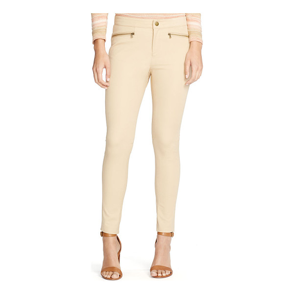 RALPH LAUREN lauren zip pocket skinny pant - Silver-toned zip pockets give this stretch cotton skinny...