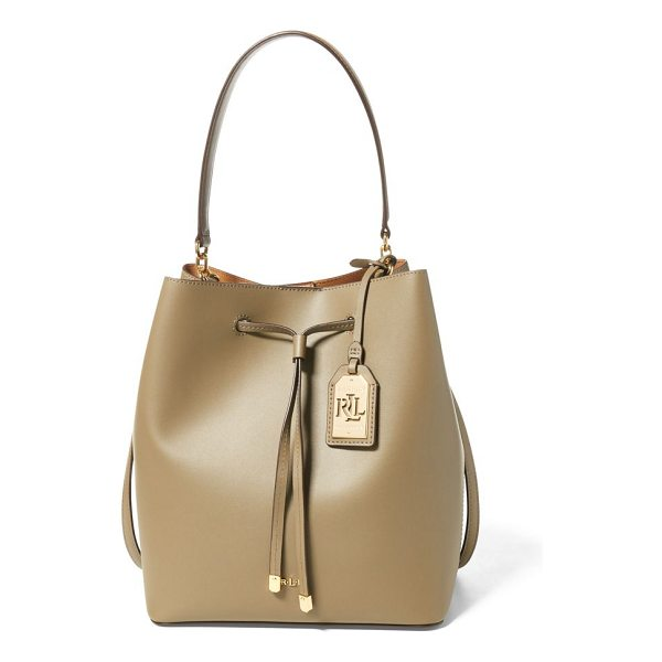 """RALPH LAUREN leather debby drawstring tote - Removable leather top handle with an 8½"""" drop...."""