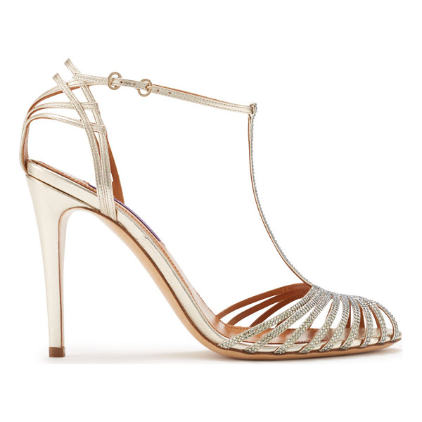 RALPH LAUREN metallic nappa jacoba sandal - Made in Italy, this glamorous, Art Deco-inspired T-strap...