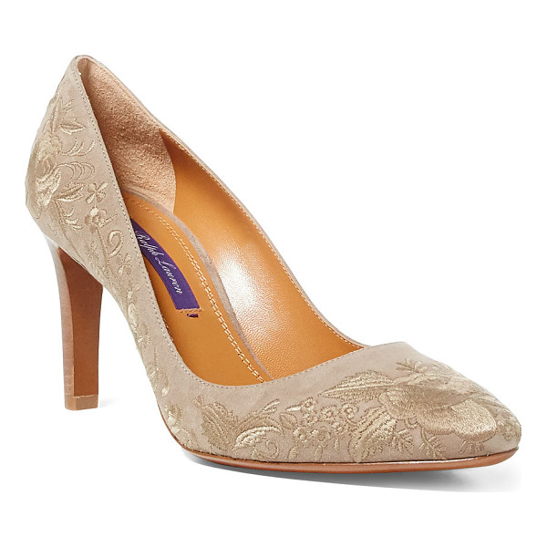 RALPH LAUREN niall-e suede pump - Tonal vintage-inspired florals are embroidered directly...