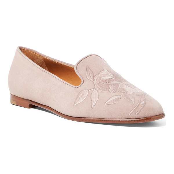 RALPH LAUREN olivera-e floral suede flat - This suede shoe is constructed in Italy on a last modeled...