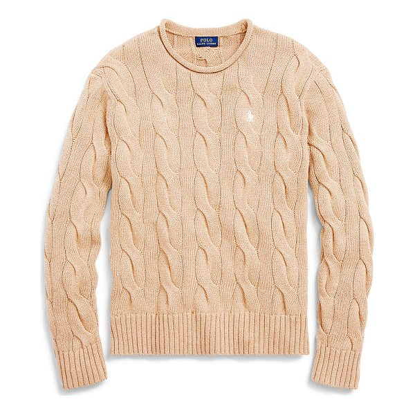 RALPH LAUREN polo  boxy cable cotton sweater - Side slits, a boxy fit, and an oversize pattern update...