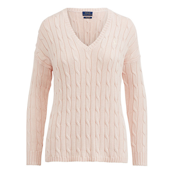 RALPH LAUREN polo  cable-knit side-slit sweater - Deep side slits enhance the chic drape of this cotton...