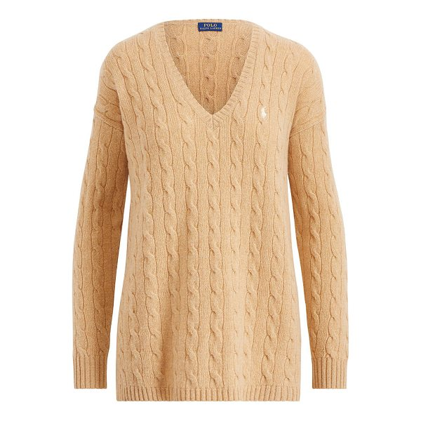 RALPH LAUREN polo  cable-knit side-slit sweater - A relaxed fit, deep side slits, and a soft blend of merino...