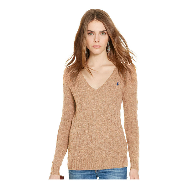 RALPH LAUREN polo  cable-knit v-neck sweater - Cable-knit from sumptuous wool with a touch of cashmere,...