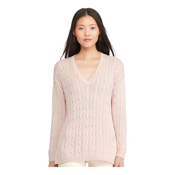 RALPH LAUREN polo  cable-knit side-slit sweater - Deep side slits enhance the chic drape of this Pima cotton...