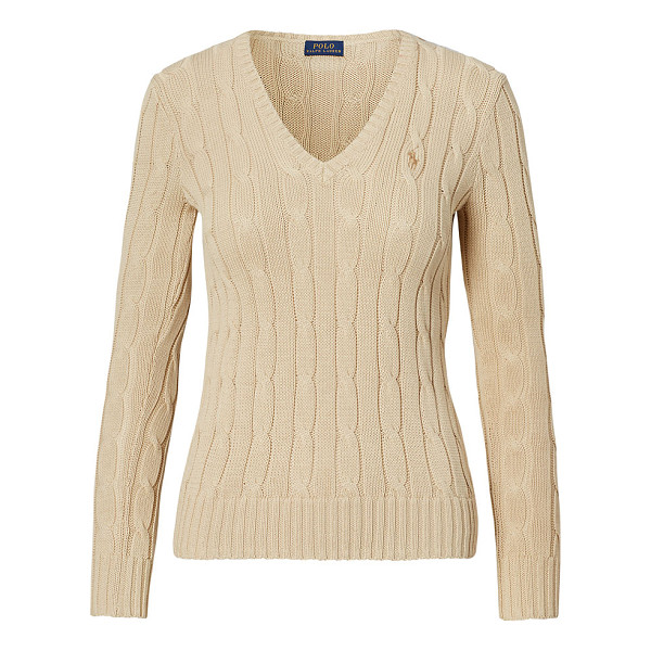 RALPH LAUREN polo  cable-knit v-neck sweater - A pure Polo piece with modern-cool clout, this slim sweater...