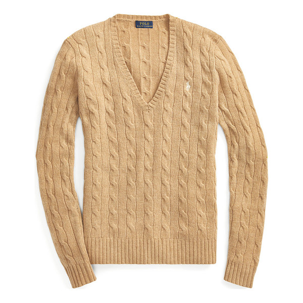 RALPH LAUREN polo  cable-knit v-neck sweater - Cable-knit from an Italian merino-wool-and-cashmere blend,...