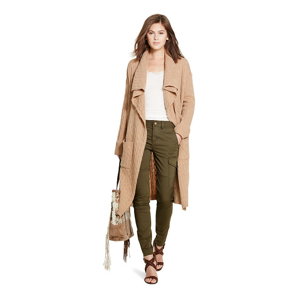 RALPH LAUREN polo  cable wool-cashmere cardigan - A draped open front defines the chic movement and...