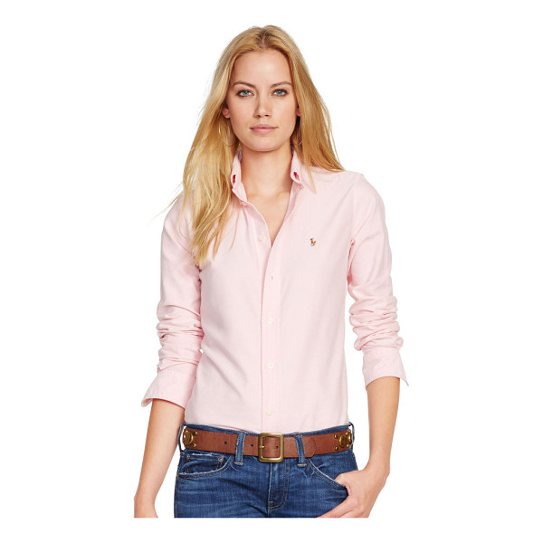 RALPH LAUREN polo  custom fit cotton oxford shirt - Washed cotton oxford and a trim silhouette join forces in...