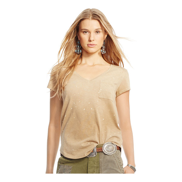 RALPH LAUREN polo  distressed jersey v-neck tee - Washed and distressed for a timeworn look, this soft cotton...