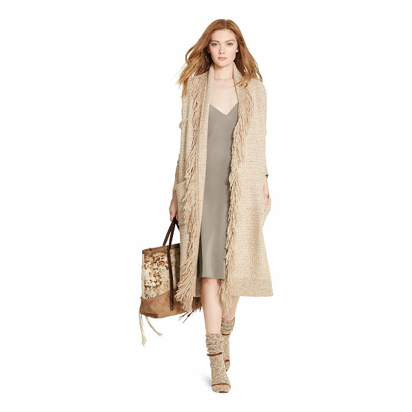 RALPH LAUREN polo  fringe-trim sweater coat - Combining the sweeping silhouette of a coat with the soft...