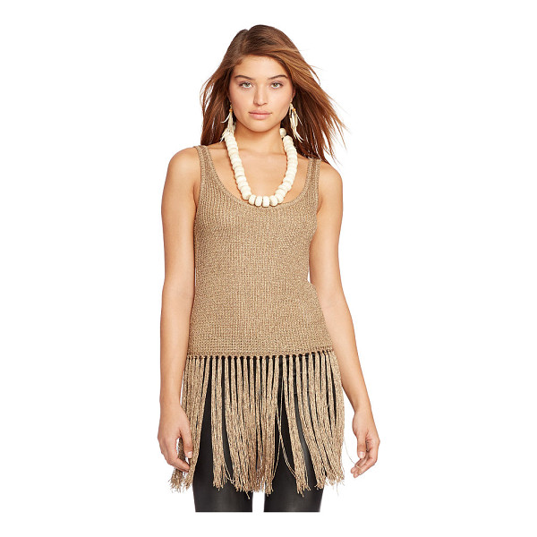 RALPH LAUREN polo  fringed metallic tank - Knit from metallic yarn with rich textural allure and...