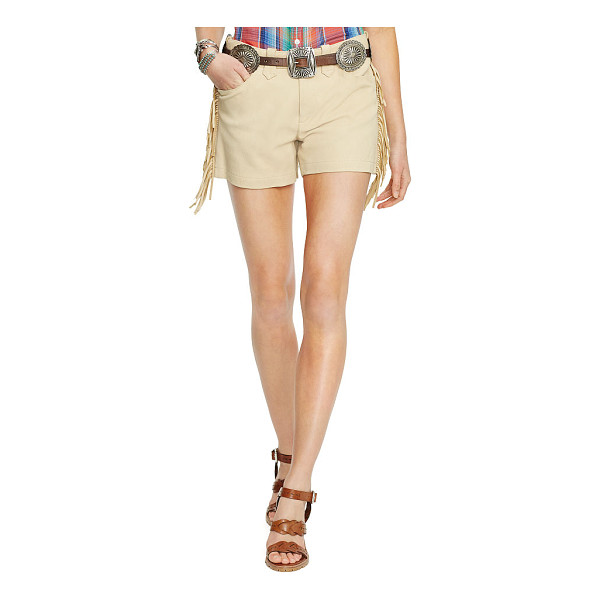 RALPH LAUREN polo  fringed suede short - Swinging fringed trim channels the allure of the American...