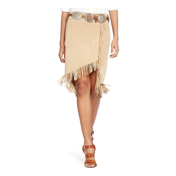 RALPH LAUREN polo  fringed suede wrap skirt - Swinging fringed trim spotlights the asymmetrical hem of...