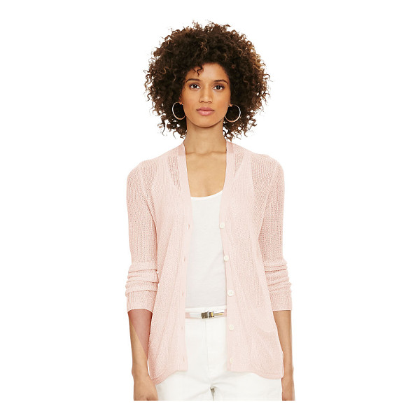RALPH LAUREN polo  knit v-neck cardigan - This lightweight knit cardigan is a textural layer for any...