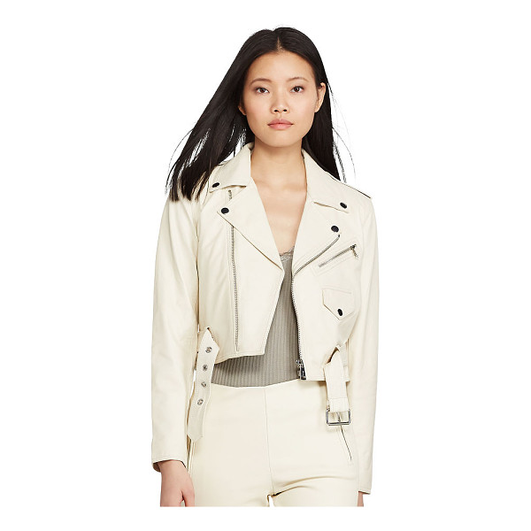 RALPH LAUREN polo  leather moto jacket - The season's cream color palette puts a fresh spin on the...