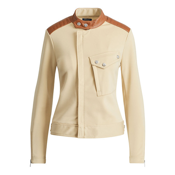 RALPH LAUREN polo  leather-trim ponte moto jacket - Quilted leather patches add a sleek finish to this stretch...