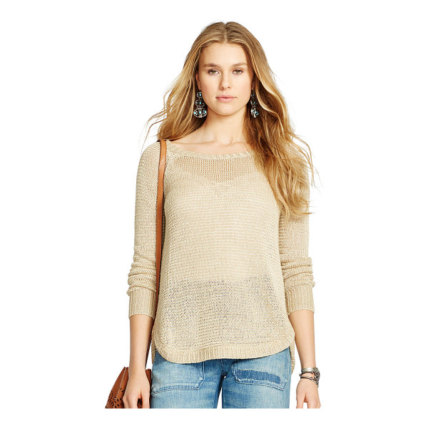 RALPH LAUREN polo  linen boatneck sweater - Open-knit for a slightly sheer effect, this linen sweater...