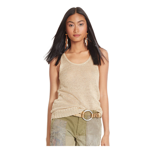 RALPH LAUREN polo  linen scoopneck tank - Open-knit from airy linen, this scoopneck tank is a...