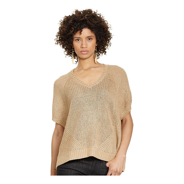 RALPH LAUREN polo  linen v-neck sweater - Knit from textural linen, this sweater drapes down the body...
