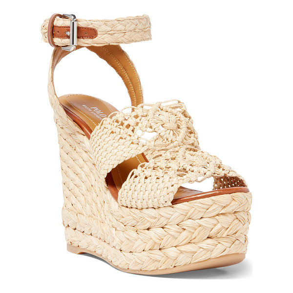 RALPH LAUREN polo  raffia-jute espadrille - Crocheted raffia straps and a 4¾-inch jute-covered...