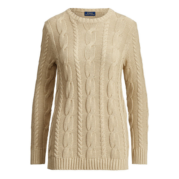 RALPH LAUREN polo  side-zip cotton cable sweater - Luxe leather-trimmed zip vents and a variegated cable knit...