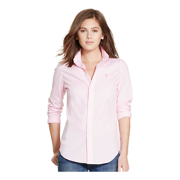 RALPH LAUREN polo  slim-fit poplin shirt - A bright hue enlivens this stretch cotton poplin shirt,...