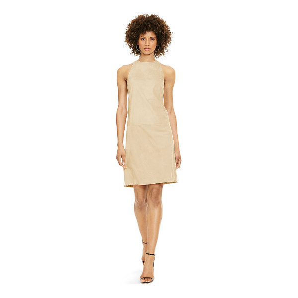 RALPH LAUREN polo  suede shift dress - The ease of a shift silhouette meets the textural allure of...