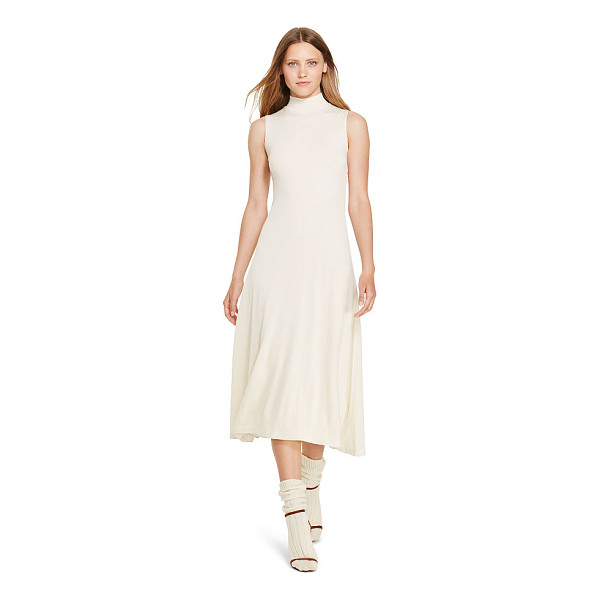 RALPH LAUREN polo  wool-blend midi dress - A modern mockneck meets a sweeping A-line silhouette in...