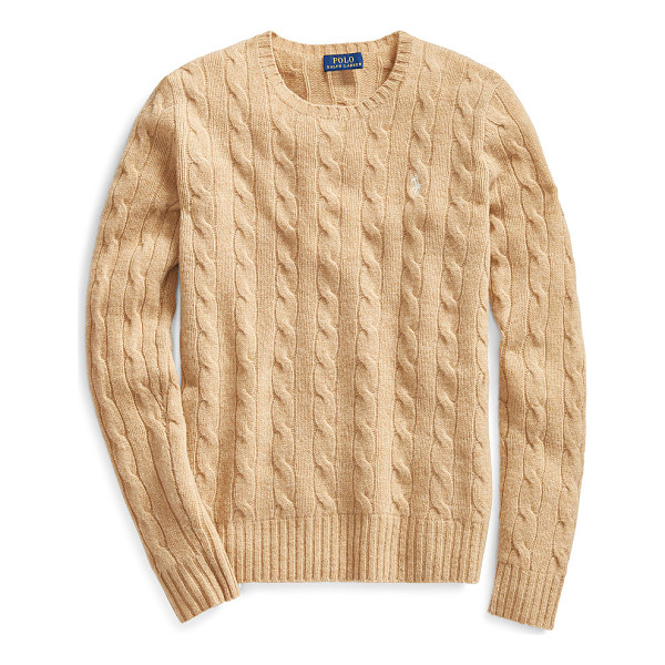 RALPH LAUREN polo  wool-cashmere crewneck sweater - With its textural cable knit and soft, luxurious blend of...