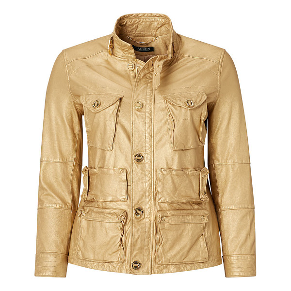 RALPH LAUREN ralph lauren lauren woman metallic leather cargo jacket - Utility-chic meets a luxe luster in this metallic leather...