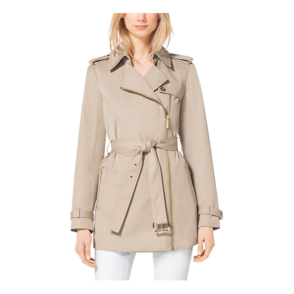 MICHAEL KORS Asymmetrical Zip-Front Trench Coat - An Asymmetrical Zip Front And Cropped Length Redefine This...