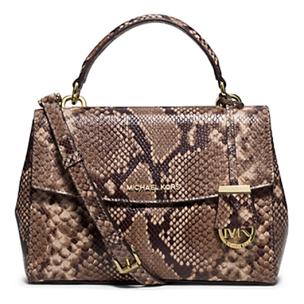 MICHAEL KORS Ava Small Embossed-Leather Satchel - This Decidedly Ladylike Take On The Top-Handle Bag...