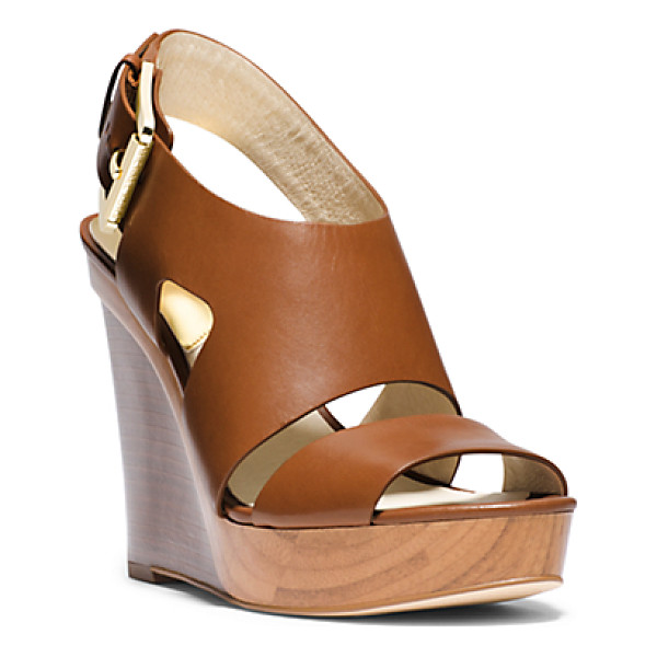 MICHAEL KORS Carla Leather Wedge - Contemporary Cutouts Feel Fresh On Our Towering Carla...