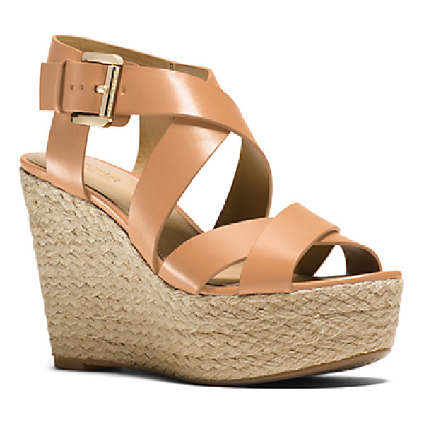 MICHAEL KORS Celia Leather Wedge - Our Celia Wedges Pack A Luxurious Punch. Charming Jute...