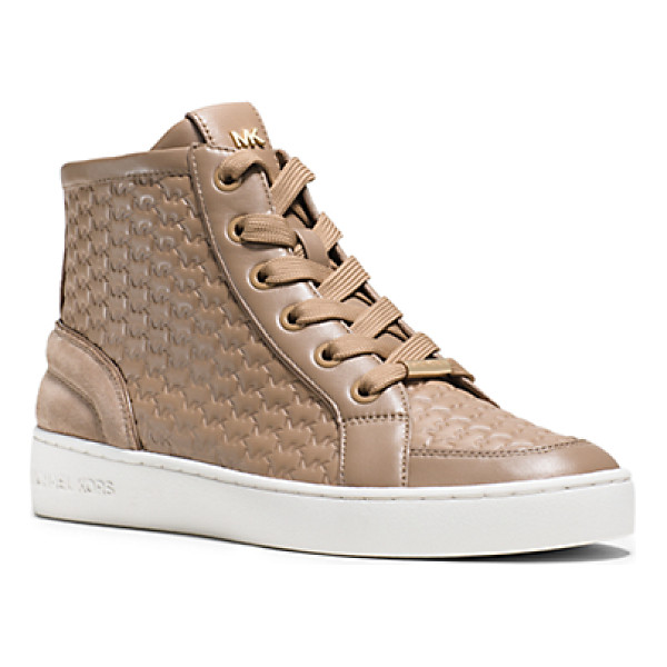 MICHAEL KORS Colby Embossed High-Top Sneakers - Logo Embossing Puts A Textural Spin On These Sporty...