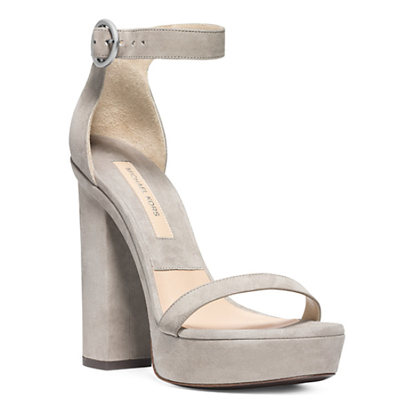 MICHAEL KORS COLLECTION Adelina runway suede platform sandal - Soft romantic shades of gray are the new neutral for fall....