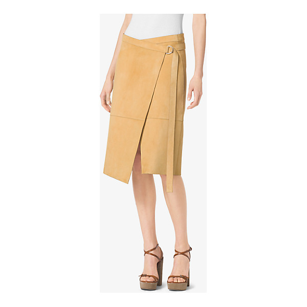 MICHAEL KORS COLLECTION Belted Wrap Suede Skirt - It's All About Skirts That Catch The Wind—slashed...